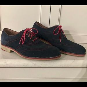 Johnston & Murphy blue suede wingtips